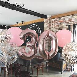 1 шт. 40 дюймов розовое золото, серебро, алюминий воздушные шары из фольги в виде цифр 0-9 на день рождения для свадьбы, помолвки Декор Globo