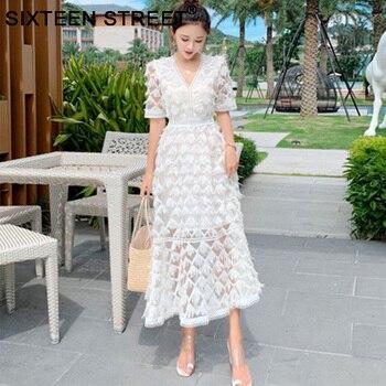 94da27c595fe Nuevo otoño mujer maxi vestido blanco de manga larga cuello alto linterna  manga vintage vestidos ...