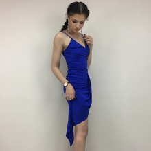 Blue cross front cami strap party dress