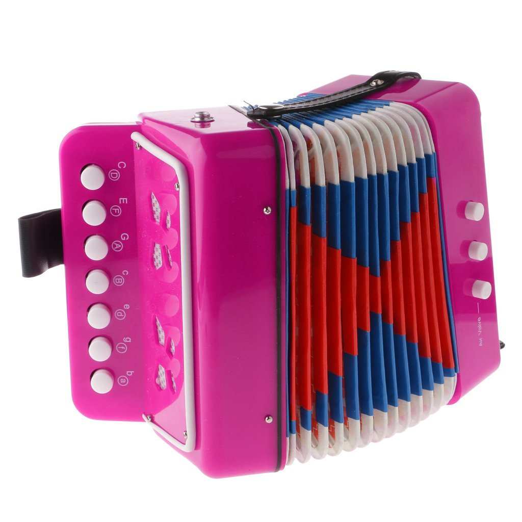 7 Button Key Accordions Educational Toy Children Musical Instrument - Red Rose