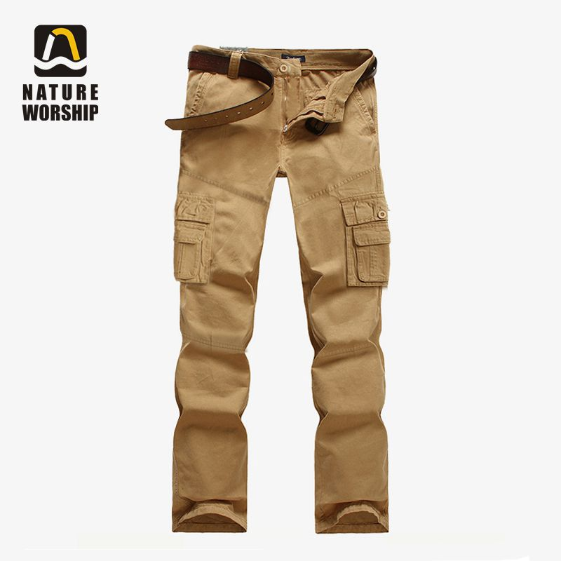 Outdoors Men Camping Hiking Camouflage Cargo Cotton Pants Plus Size Multi-pocket Overalls Trousers camouflage multi pocket loose fit straight leg zipper fly cargo shorts for men