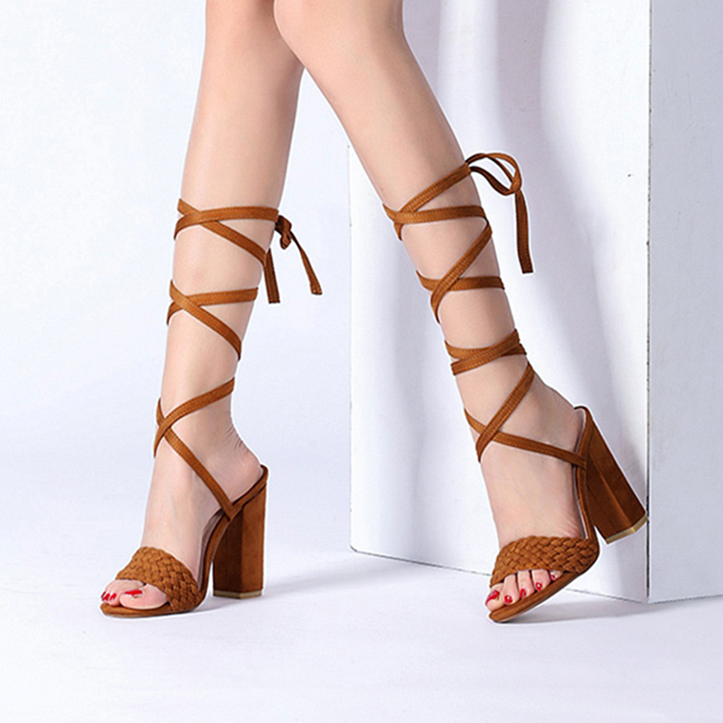 Fashion luxury Gladiator Sandals Suede Leather Thick High Heels Dress Shoes Woman Bis Size Peep Toe Brand Women luxury Botas