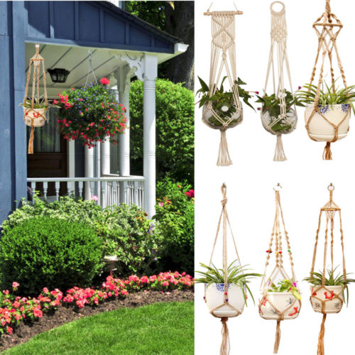 Hot Sale Hanging Baskets Macrame Plant Hanger Flower Pot Holder Hanger Wall Decoration Countyard Garden Jute Rope Braided Craft-in Hanging Baskets from Home & Garden