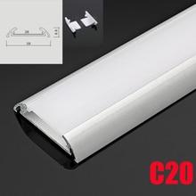 C20 5 Sets 50cm תחת אורות קבינט LED אלומיניום ערוץ מערכת עם מפוזר כיסוי סוף כובעי אלומיניום פרופיל עבור LED בר אורות