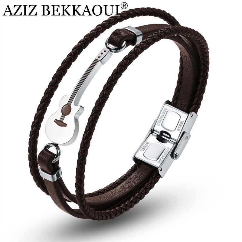AZIZ BEKKAOUI Engrave Name Brown Guitar Bracelets Black Stainless Steel Leather Bracelet for Men Rope Bangle Dropshipping