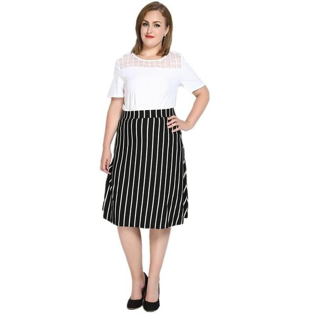 90134140f6 Hot sale women plus size loose wild vertical stripes skirts fashion high  waist big size skirts womens A line skirt ZK1075