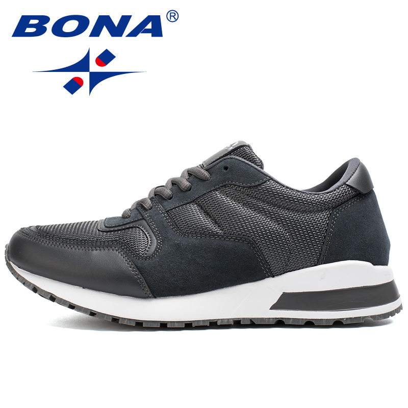 BONA New Typical Style Men Running Shoes Lace Up Walking Shoes Suede Mesh Sneakers Light Soft Athletic Shoes Fast Free Shipping недорого