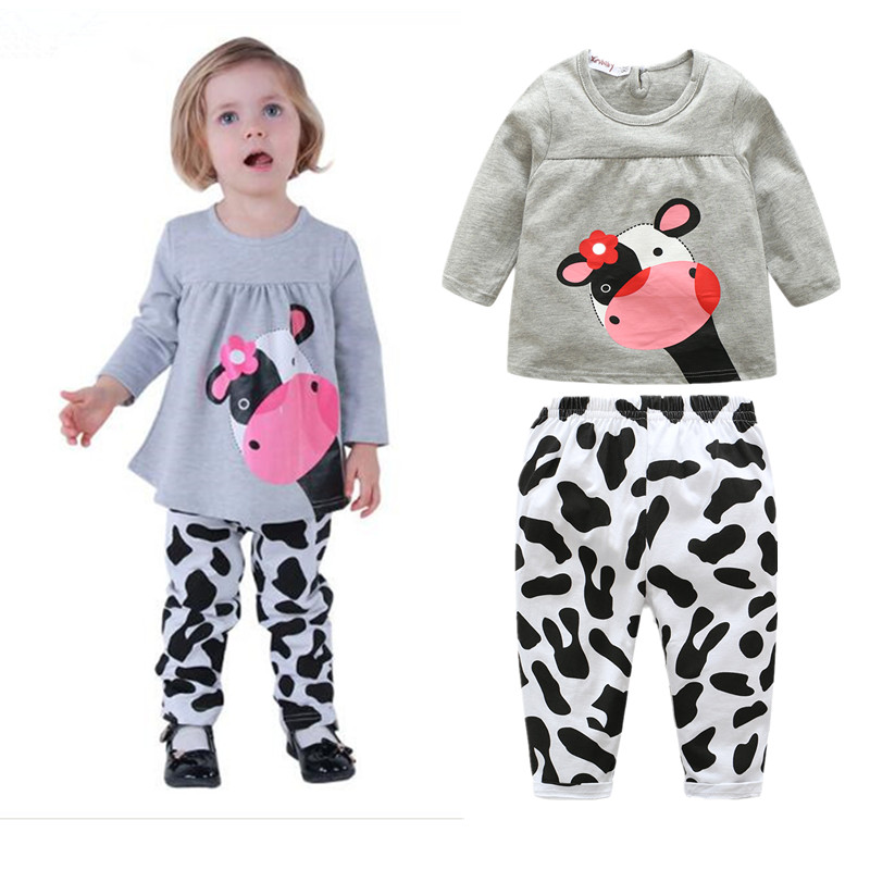 2016 winter hot sale baby girl clothes casual long-sleeved T-shirt+Pants suit Tracksuit cow suit kids clothing set