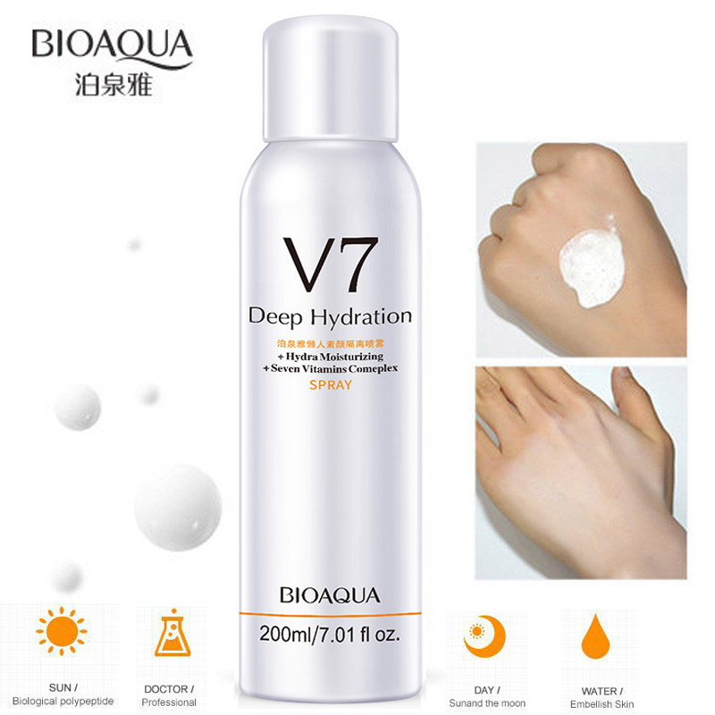 200ML Whitening Concealer Sunscreen Isolation Spray Waterproof V7 Hydration Moisturizing Contains 7 Skin Care Vitamins Complex