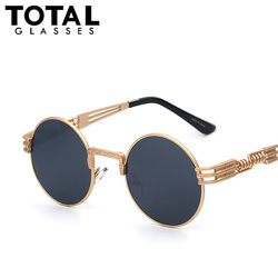 Luxury metal sunglasses men round sunglass steampunk coating glasses vintage retro outdoor lentes oculos of male.jpg 250x250