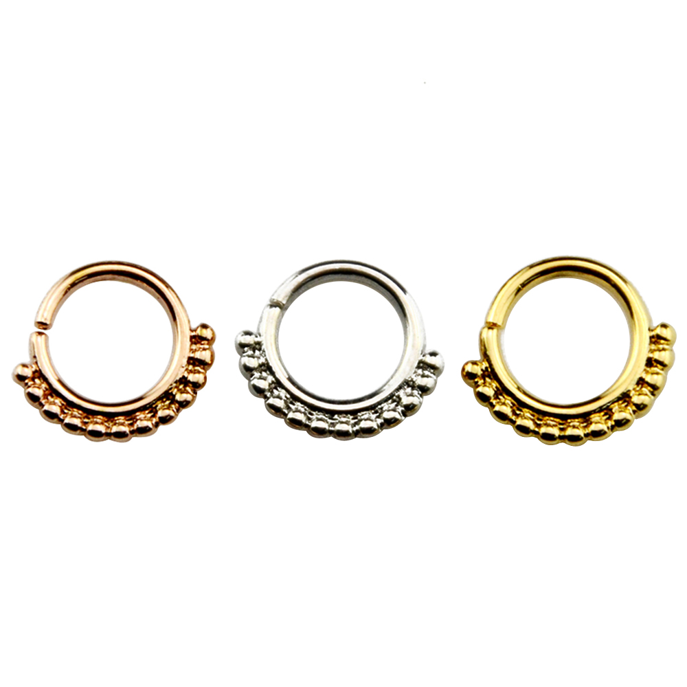 1pc Brass Septum Clicker Silver Gold Rose Gold 16g Nose Ring