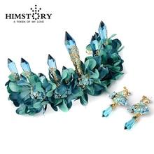 Luxury Blue Flower Rhinestone Bridal Wedding Tiara Crowns Women Baroque Queen Style Hair wear Party  Accessories