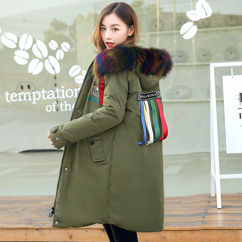 2017 Winter Women Thick Long Down Jacket Coat With Rainbow Color Fur Collar Fashion Korean Oversize Hooded Down Parka M XXL