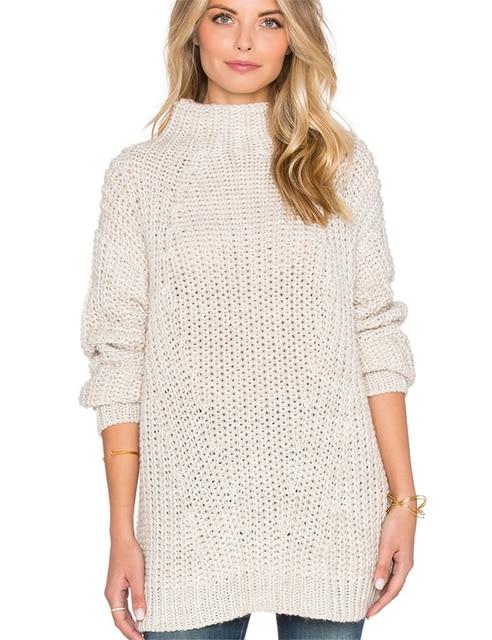 Europe US 2017 Winter Fashion Semi-high Collar Long Sweater Women Eleglant Loose Casual Female Cashmere Sweaters Pullovers White