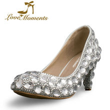 Love Moments Crystal Wedding Dress Shoes 6cm Middle Heel Comfortable Bridal Shoes Silver Woman Party Prom