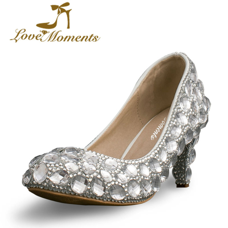 love moments Crystal Wedding font b Dress b font Shoes 6cm Middle Heel Comfortable Bridal Shoes