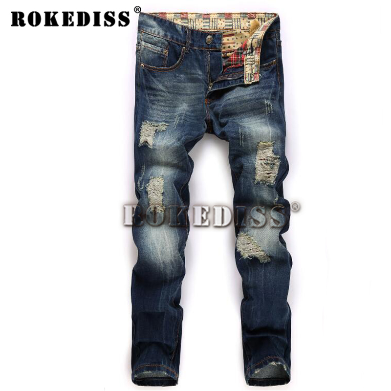Robin 2017 Fashionable Fashion Spring and Autumn the man trousers Men's Casual Clothing Ripped for men Full Length jeans B97