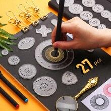27 個スパイログラフ描画のおもちゃセット魔法の絵画テンプレート幾何定規クリエイティブ教育玩具子供の大人
