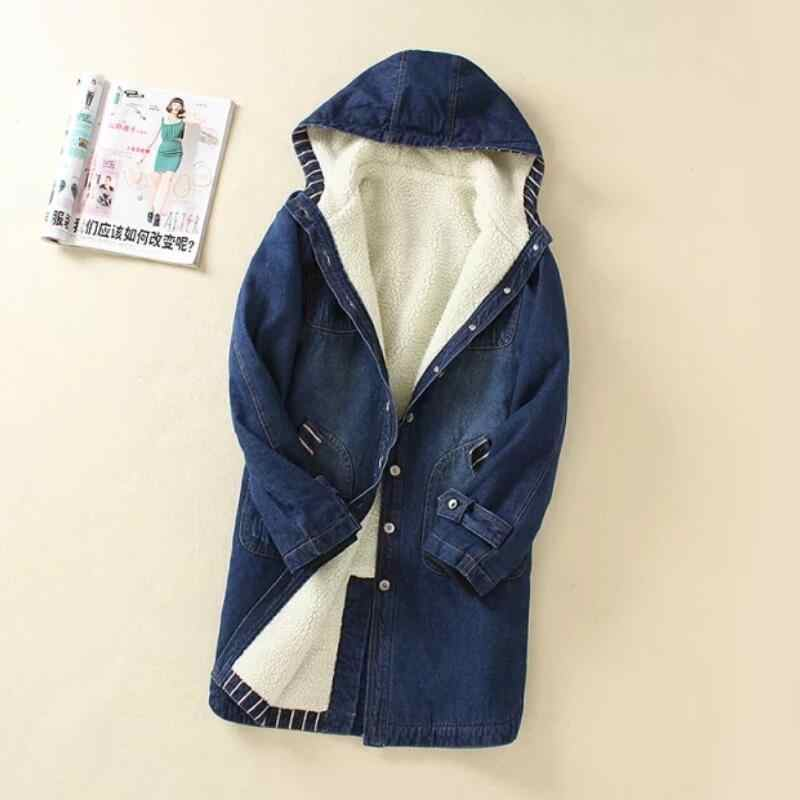Warm Winter Denim Jacket for Women Wool lining Basic Autumn Winter Jean Coat New 2019 Denim Female Jackets Loose Casual Clothes
