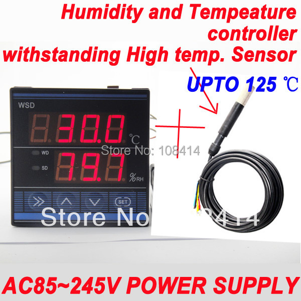 AC 85~245VAC Power Supply Professional Digital Temperature Humidity Controller with Withstanding High Temperature Sensor  ac 150v 250v 800w double digits digital power controller dpc ii 800r zqpww