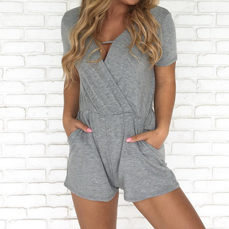 Laamei Solid Women Playsuit 2018 Sexy Casual Deep-v Jumpsuit Shorts High Waist Summer Short Sleeve Overalls Romper With Pockets