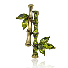 CINKILE Chinese Style Crystal Bamboo Pin Brooch Fashion Jewelry for Women and Man Shirt Suit Accessories High Quality(China)