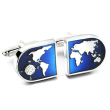 High Quality French Style Silver Blue globe Cufflinks For Mens Shirt Brand suit Cuff Buttons Top sale Cuff Links Jewelry