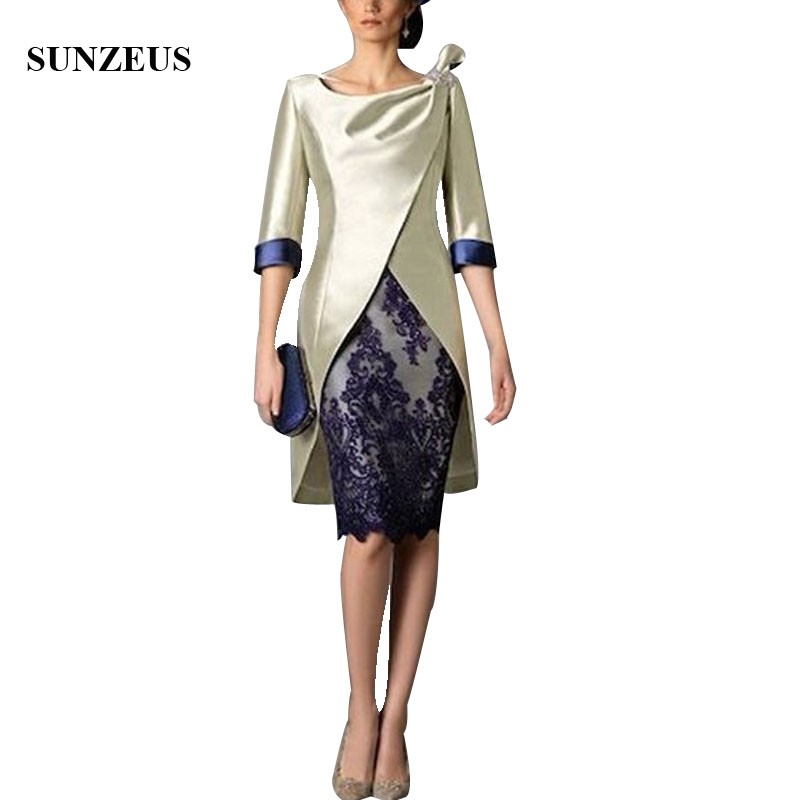Knee Length Mother Of The Bride Suit Sheath V-neck Cap Sleeve Lady Wedding Party Gowns With Jacket Appliques Short Formal Dress