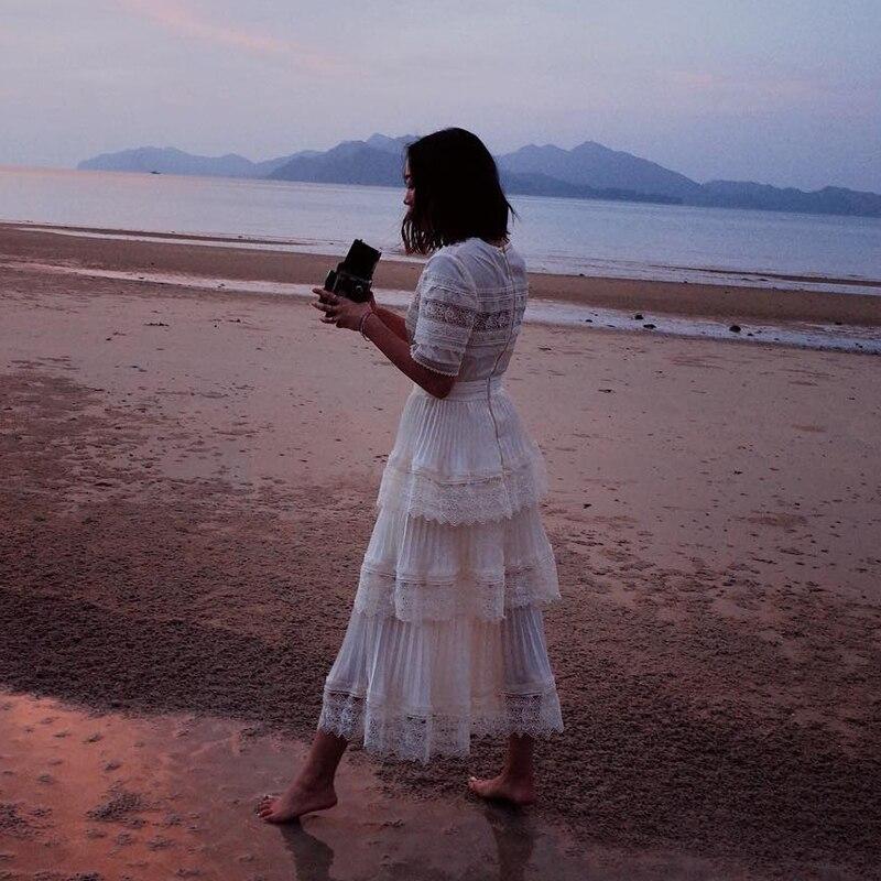 Vintage Lace Splices Maxi Dress 2019 Summer Boho Beach Long Dresses Elegant Lace Splices Cake Robe