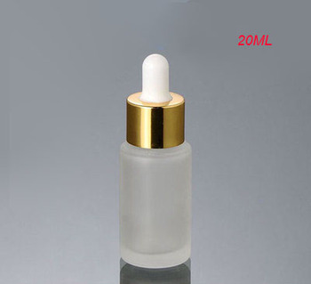 100pcs empty 20ML frosted empty dropper glass bottle with gold &white top ,clear frost 20ml glass dropper bottle wholesale