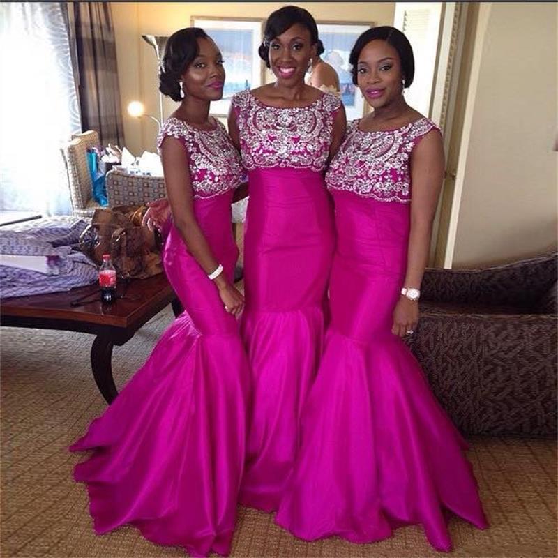 Popular Hot Pink Mermaid Bridesmaid Dress-Buy Cheap Hot Pink ...