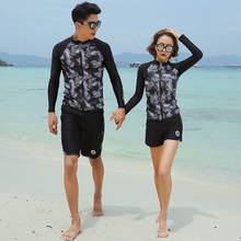 купить Rhyme Lady Swimwear Couples Patchwork Cropped Print Rash Guard woman five pieces Long Sleeve Swimsuit Surfing Clothes For lovers дешево