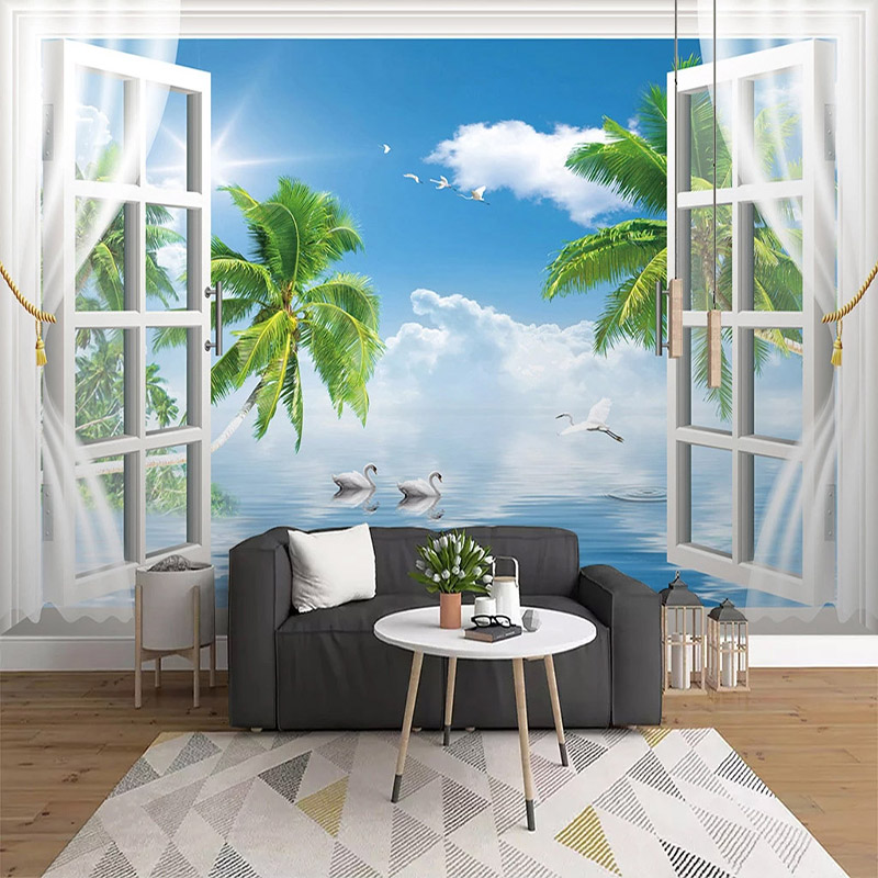 Photo Wallpaper 3D Sea Landscape Murals Living Room Bedroom Background Wall Decor Self-Adhesive Waterproof Canvas Wall Stickers