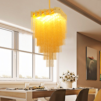 LICAN ATLANTIS Stream Aluminum Chain Chandelier Lighting Gold Hanging Lighting Hotel Lobby Villa Light Fixture Chandelier