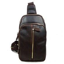 Guangzhou new leather men's chest pack bag casual retro trend men crazy horse Messenger bag tide