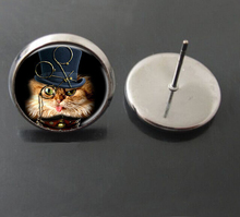 Hot Sale 2015 fashion Cat stud earring round glass Wearing hat cat picture earring jewelry silver/bronze black plated,handmade
