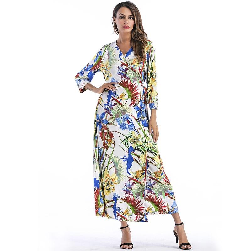 For Female Pattern Dress Leaves Printed Maxi Dress Irregular Long Boho Dress V neck Waist Slim Bandage Vestidos Spring 2019 Girl