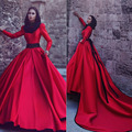 2017 Dubai Muslim High Neck Evening Gowns Long Sleeves A-Line Satin Beaded Sash Red Evening Dresses Long Prom Dress Party SM01