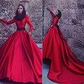2017 Dubai Musulmana de Cuello Alto Vestidos de Noche de Manga Larga de Una Línea de raso Con Cuentas Sash Vestidos de Noche Rojo Largo Prom Vestido Del Partido SM01