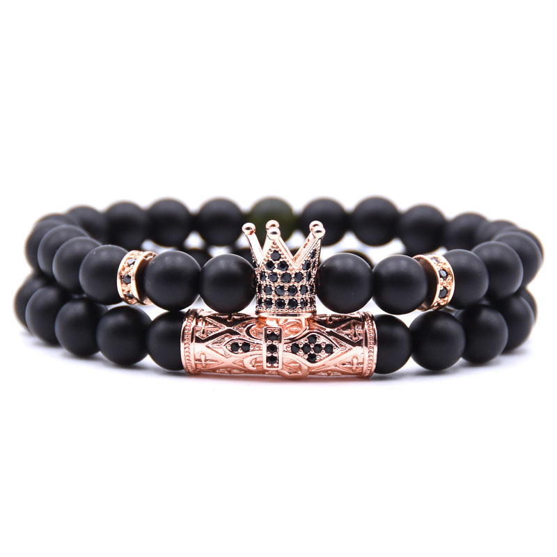 HONEYYIYI 2pcs set Couple Jewelry Pave CZ Crown Charm Bracelet For Men Women Bracelets Bangles Men Pulseira hombres in Strand Bracelets from Jewelry Accessories