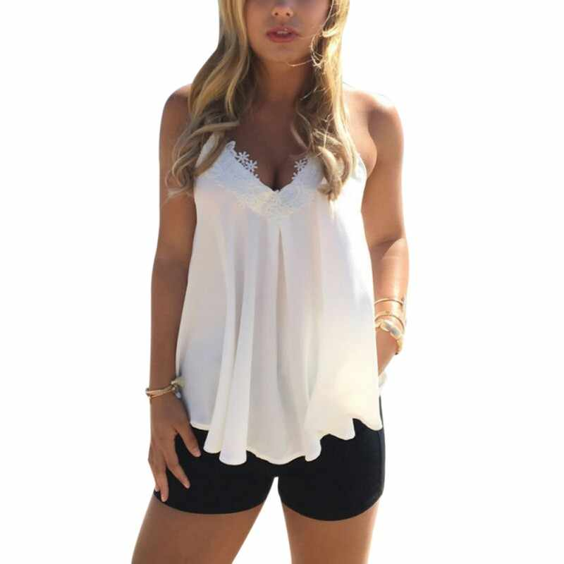 2b0159a4277 2018 Sexy Women Summer Low-Cut Crop Top Vest Bodycon Lace Floral Tunic  Sleeveless Tank