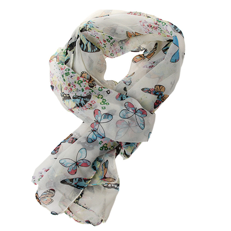 Comfortable Lady Butterfly Print Chiffon Neck Shawl   Scarf     Scarves     Wrap   Simple White Chiffon Velvet Rayon 2019 New