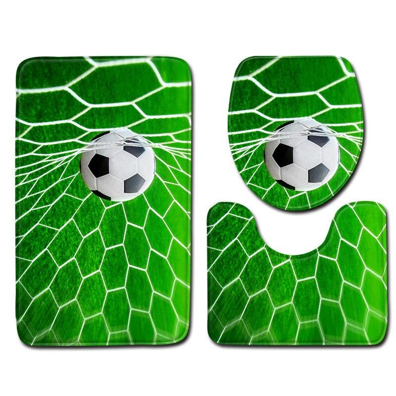 SunnyRain 3-Piece 3D Printed The Football Match Fleece Bathroom Rug Set Slip Resistance Rugs Closestool Cover