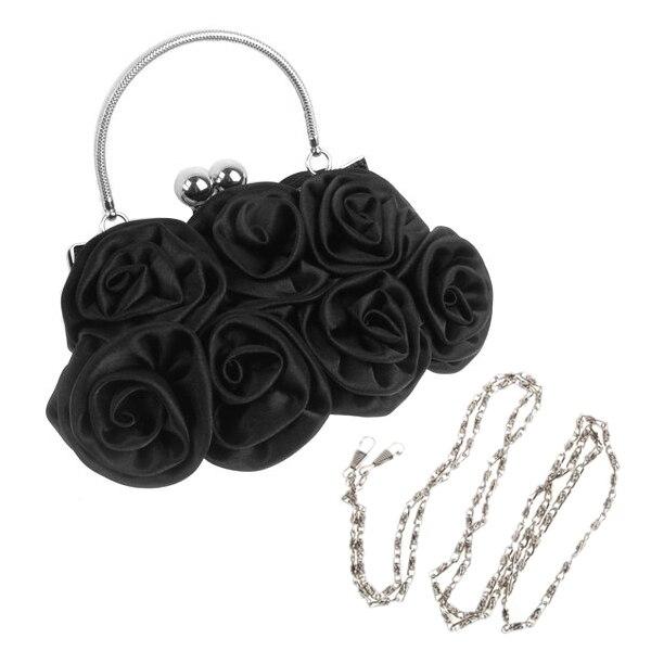 Hot Rosette Clutch Bag Evening Black Flower Purse Handbag Banquet Bag