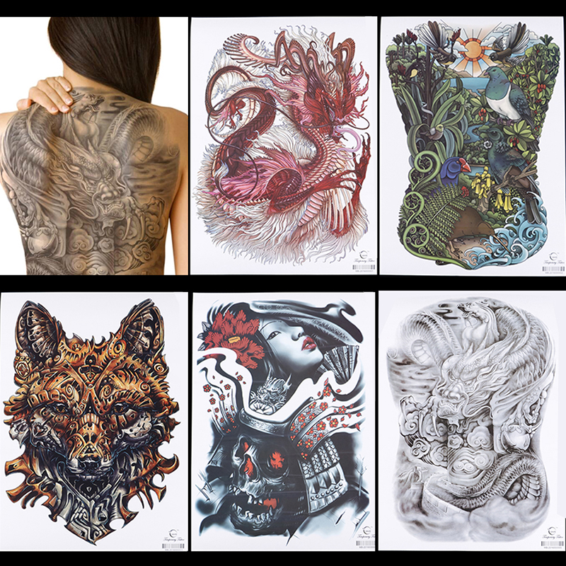 d44924b5f Big Large Full Back Chest Tattoo Sticker Wolf Tiger Dragon Body Art  Temporary Waterproof