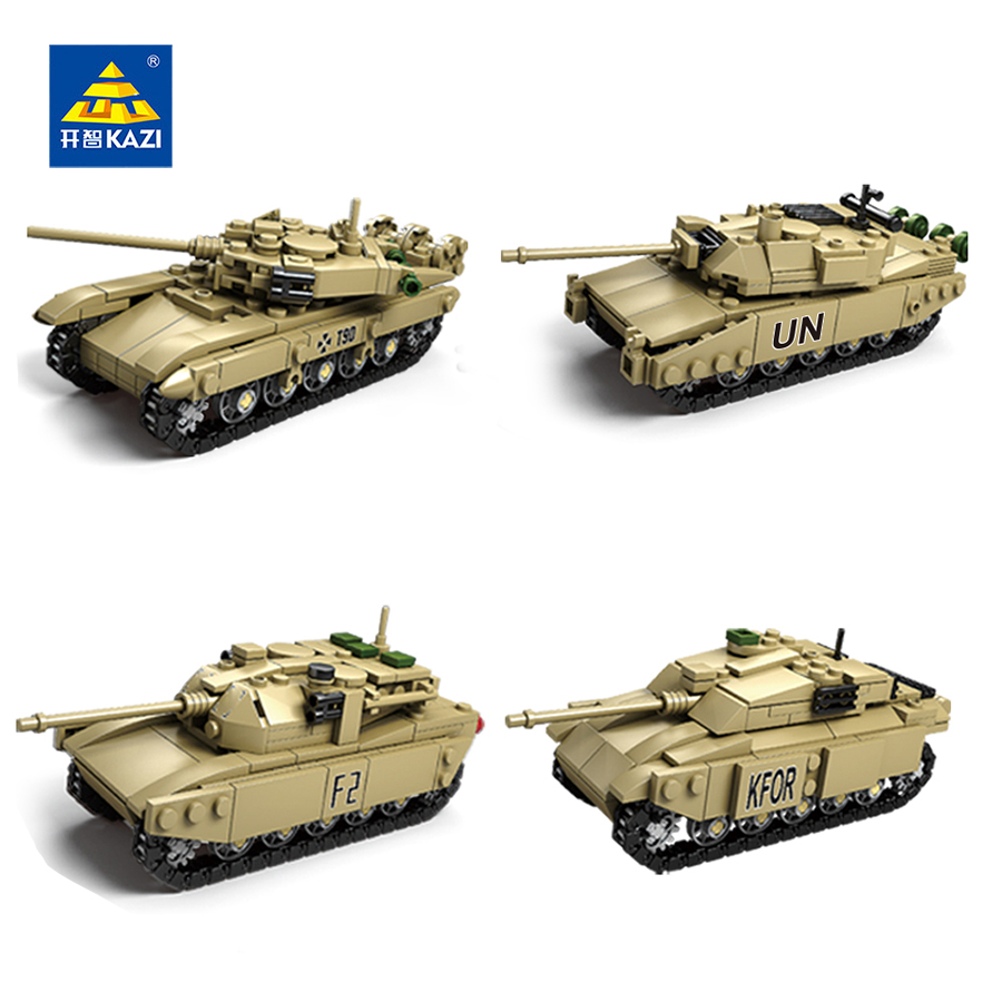 KAZI Military Tank Building Blocks DIY 4 Style Army Classic War Tank Bricks Compatible Legoe City Christmas Gifts Toys For Kids kaygoo building blocks aircraft airplane ship bus tank police city military carrier 8 in 1 model kids toys best kids xmas gifts