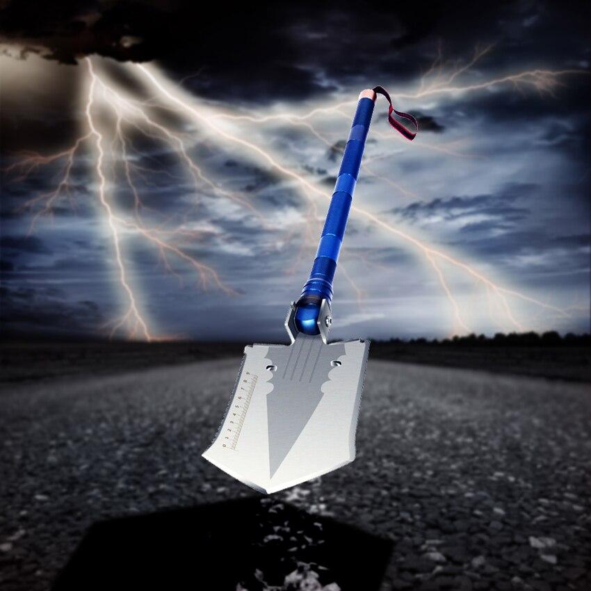 1pc outdoor camping magic shape steel shovel multi-function folding shovel tool survival shovel Flashlight shovel knife