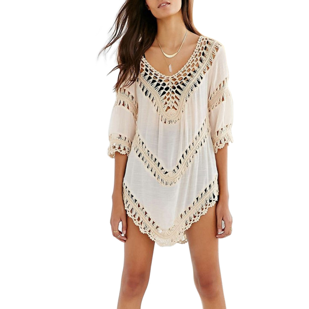 Summer Womens Sexy Blouse Vintage Hollow Out Crochet Smock Beach Cover up Beachwear Swimwear Bathing Suit fashion