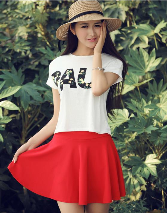 2015 Summer Women New Lined Anti Emptied Pleated Skirts High Waist Casual Solid Shorts Skirts A718