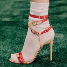 Fashion Buckle Decor Mixed Color Sandals Dress Lady High Heel Open Toe Ankle Multi Summer Shoes